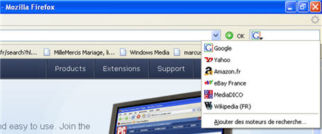 Choix du moteur de recherche dans Firefox